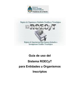 Guía de uso del Sistema ROECyT para entidades y organismos