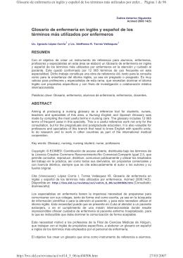 Glosario de enfermería en inglés y español de los términos - e-Lis
