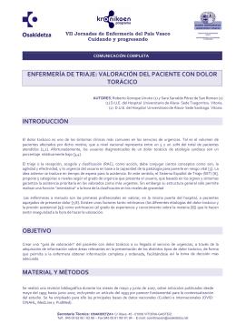 071 Enfermería de triaje: valoración del paciente con dolor torácico