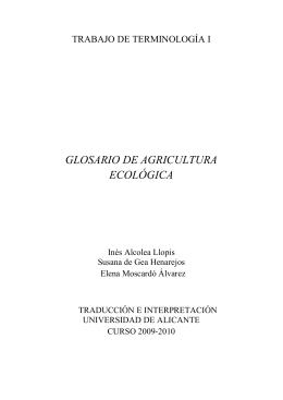 GLOSARIO DE AGRICULTURA ECOLÓGICA