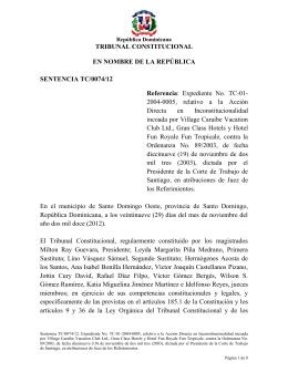 Sentencia TC 0074-12 C - Tribunal Constitucional de la