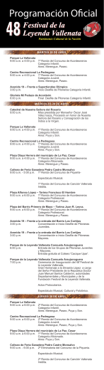 Programación del Festival Vallenato.