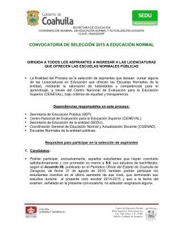 CONVOCATORIA DE SELECCIÓN 2015 A EDUCACIÓN NORMAL