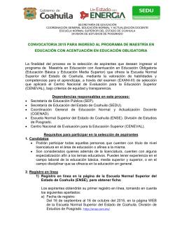 CONVOCATORIA 2015 PARA INGRESO AL PROGRAMA DE