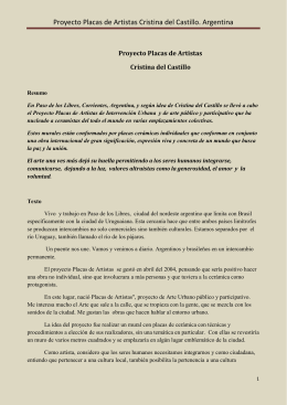 Proyecto Placas de Artistas Cristina del Castillo. Argentina