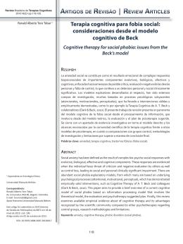 Terapia cognitiva para fobia social: consideraciones desde