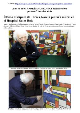 Último discípulo de Torres García pintará mural en el Hospital Saint
