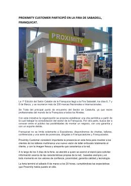 Participación de Proximity en la Fira de Sabadell, Franquicat