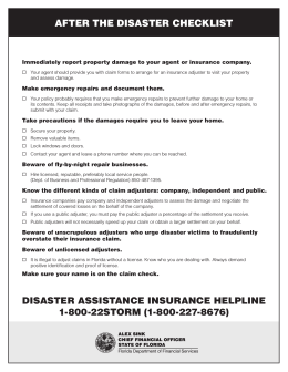 After the diSASter CheCkliSt diSASter ASSiStAnCe inSUrAnCe