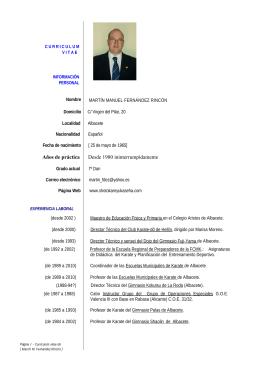 Currículum Vitae. - Shotokan Ryu Kase Ha