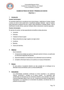 EXAMEN EN FRESCO DE HECES Y PRESENCIA DE HUEVOS