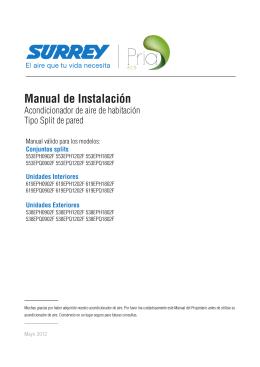 Manual de Instalación Equipos split línea PRIA ECO hasta