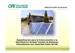 Especificaciones Tecnicas CFE para la Interconexion a REd de