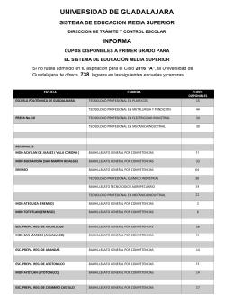 cupos disponibles sems 2016 - Coordinación de Control Escolar