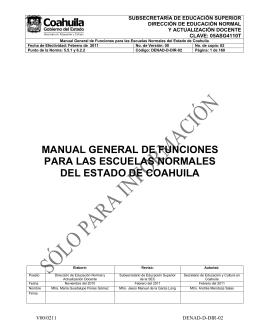 manual general de funciones para las escuelas normales del