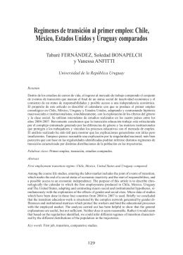 Regímenes de transición al primer empleo: Chile, México, Estados