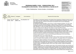 Resumen CV y correos electrónicos. Ciencias Sociales y