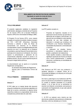 REGLAMENTO DE PROYECTOS FIN DE CARRERA (Aprobado en