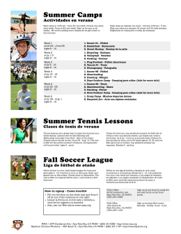Summer Flyer 2013 - Ravenswood Youth Athletic Association