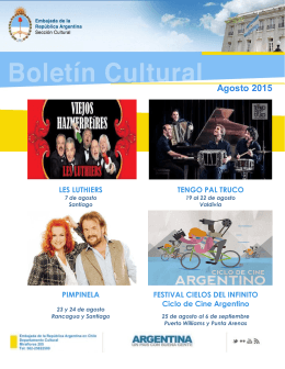 Boletín cultural agosto 2015