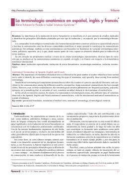 La terminología anatómica en español, inglés y francés*