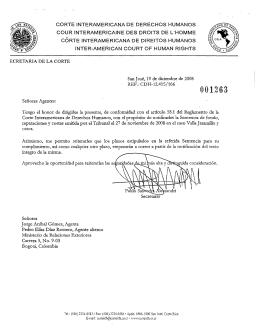 Notificación de las partes - Corte Interamericana de Derechos
