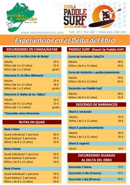Experiencias en el Delta del Ebro
