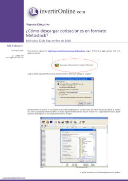 ¿Cómo descargar cotizaciones en formato Metastock?