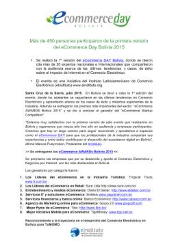 Resultados Finales Primera Versión eCommerce Day Bolivia 2015