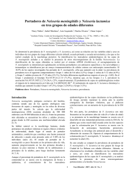 Portadores de Neisseria meningitidis y Neisseria lactamica en tres