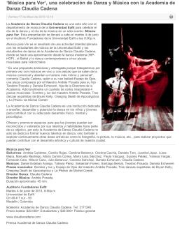 Arte en la red - Academia de Danza Claudia Cadena