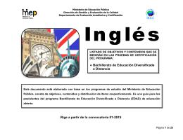 Inglés - Dirección de Gestión y Evaluación de la Calidad