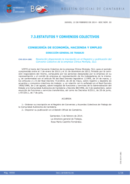 Convenio Colectivo de la empresa Clínica Mompía