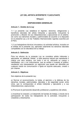Ley del Artista, Intérprete, Ejecutante