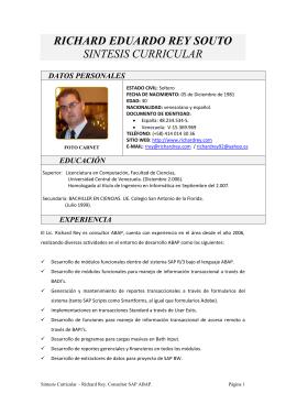 richard eduardo rey souto sintesis curricular datos personales