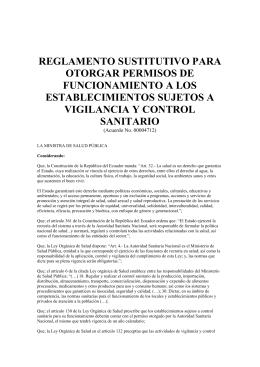 reglamento sustitutivo para otorgar permisos de funcionamiento a
