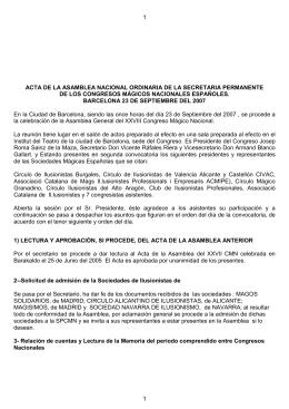 Acta Asamblea - Secretaría Permanente de Congresos Mágicos