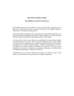RESUMEN INTRODUCTORIO DR. PEDRO SAGASTEGUI