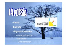 •Verso •Estrofa •Figuras Literarias - Personificación