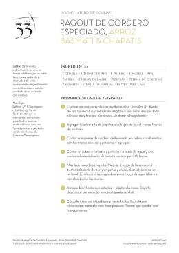 ragout de cordero especiado, arroz basmati & chapatis