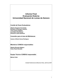 Informe Final Evaluación Externa Universidad Nacional de Lomas