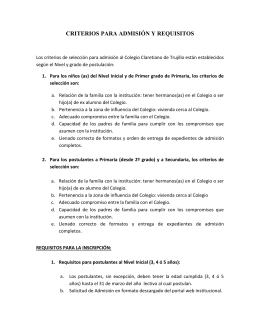 Criterios y Requisitos - Colegio Claretiano de Trujillo