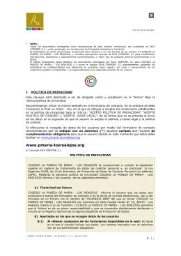 politica de privacidad - Pureza de María. Los Realejos