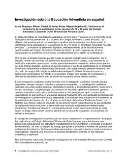 Investigación sobre la Educación Adventista en español