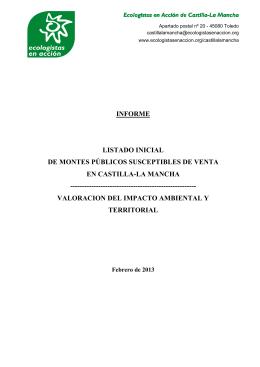 Informe Venta montes públicos en Castilla