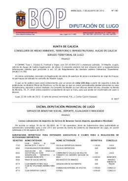 XUNTA DE GALICIA EXCMA. DEPUTACIÓN PROVINCIAL DE LUGO
