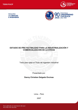 DELGADO DANNY E OMERCIALIZACION STEVIA