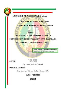 UNIVERSIDAD NACIONAL DE LOJA Loja - Ecuador