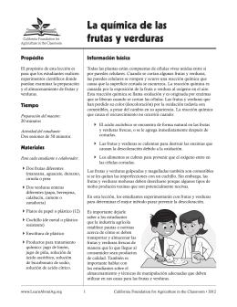 La química de las frutas y verduras