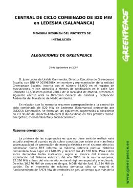 CENTRAL DE CICLO COMBINADO DE 820 MW en LEDESMA